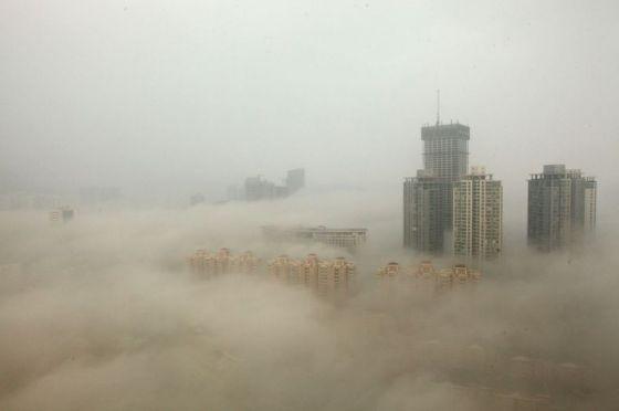 Contaminación en Beijing desde edificio