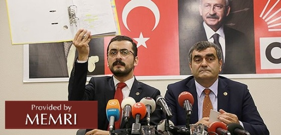 CHP Mps Eren Erdem and Ali Seker at Press Confernce 10-21-15 Source Today's Zaman
