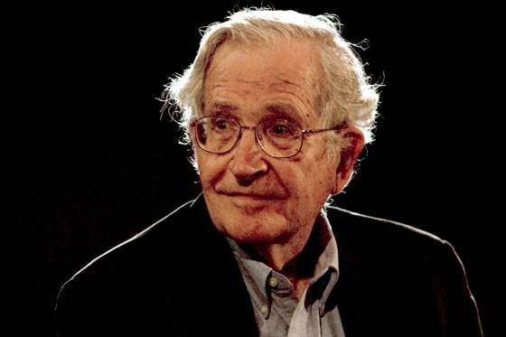 U.S. linguist and philosopher Noam Chomsky pauses while addressing the audience at the National Autonomous University's Educational Investigation Institute (UNAM) in Mexico City