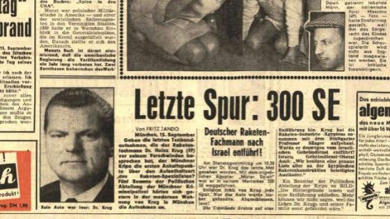 Noticia de la desaparición de Krug en el diario Bild