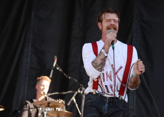 SACRAMENTO, CA - OCTOBER 25: (L-R) Drummer Josh Homme and singer Jesse Hughes of Eagles of Death Metal perform onstage at Gibson Ranch County Park on October 25, 2015 in Sacramento, California. (Photo by Scott Dudelson/Getty Images)